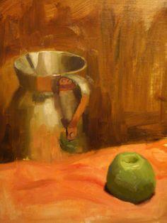 "Apple and jug by Guido Mauas | $250 | 12""w x 16""h | Original Art | http://www.vangoart.co/buy/art/apple-and-jug @VangoArt"