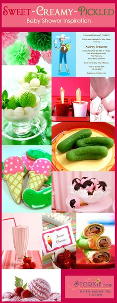 Pickles and ice cream baby shower. Very creative.