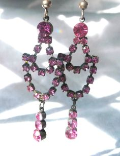 Vintage Chandelier Earrings with Sparkling Rose Pink Rhinestones. Upgraded with new sterling silver ear wires for pierced ears. At AngelGrace on Etsy.