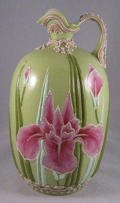 Very Pretty Antique Nippon Moriage Ewer with Pink Irises on Greenback Ground   eBay