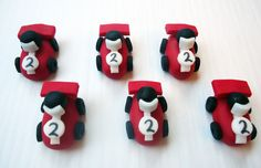 Fondant Cupcake Toppers  Race Cars  3D by CakesAndKids on Etsy