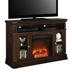 Ameriwood Brooklyn Electric Fireplace TV Stand, Brown