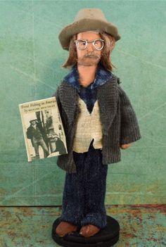 Richard Brautigan Author Doll Miniature Historical Dark Satire Writer