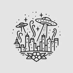 UFO Attack illustration by Liam Ashurst space ship city Space Drawings, Mini Drawings, Doodle Drawings, Doodle Art, Easy Drawings, Drawing Sketches, Drawing Designs, Art Du Croquis, Cute Doodles
