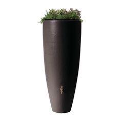Baril de pluie et jardinière 2 en 1 de 300 l, moka