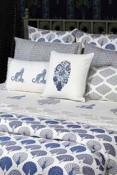 MEGH MALHAR Celebrating the magic of the monsoons, an ode to the joy of rainclouds, dancing peacocks, hot teas and cool breeze. A luxurious hand-block printed piqué bed collection celebrates the monsoon with dancing peacocks in shades of indigo grey rainclouds. #BedStory #Indigo