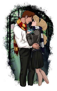 Princess Aurora and Prince Phillip.... Disney characters as Hogwarts students. :)