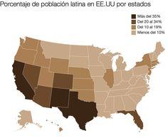 Porcentaje de población hispana en EEUU por estados