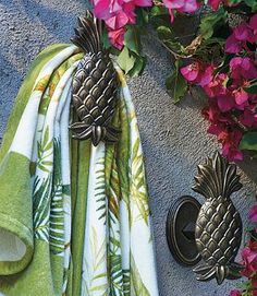 As handsome as they are functional, our unique Pineapple Hooks are the perfect place to hang towels, swimsuits and goggles after a swim.