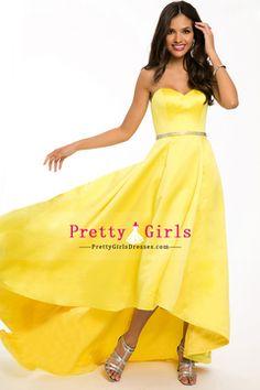 2015 Affordable Sweetheart Prom Dresses Beaded Waistline A-Line Satin Court Train USD 136.49 PGDP45YG8RH - PrettyGirlsDresses.com