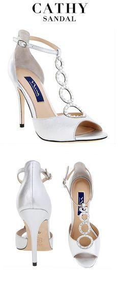 Silver 3.5' heel sandals delicately adorned with Swarovski crystals | Nina Shoes Cathy www.NinaShoes.com Sparkly Heels, Soul Healing, Nina Shoes, Walk In My Shoes, Killer Heels, Unique Shoes, Bridezilla, Sky High, Shoe Dazzle