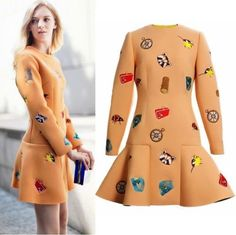 BLOGGERS! Fashion Neoprene Embroidered A-line Ruffle Hem MINI Dress 3/4 Sleeve in Clothes, Shoes & Accessories, Women's Clothing, Dresses   eBay