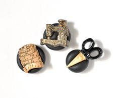 Sewing Magnets Black and Gold Seamstress Themed, Measuring Tape, Sewing Machine and Gilded Scissors Polymer Clay Gift Set of 3