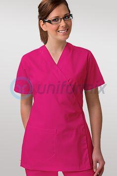 Bluza medyczna wiązana, fason kimonowy, róż intensywny.