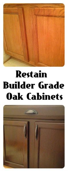 Kitchen: Restain Builder Grade cabinets: General Finishes Gel Stain Antique Walnut and Rustoleum's Carrington Remodel, Cabinet, Home Remodeling, Oak Cabinets, Home Decor, Home Renovation, Stair Makeover, Home Diy, General Finishes Gel Stain