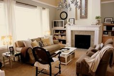 Gray and tan living room... there may be some potential with this color combo :)