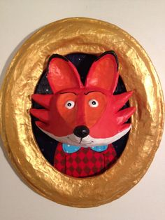 Mr. Fox Paper Mache Portrait