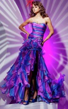 A-Line/Princess Strapless Dropped Long/Floor-length Sleeveless Split Front,Tiered Organza Zipper Up Prom Dresses Dress