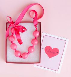 Valentine Necklace made with ribbon and gumballs.  Adorable!