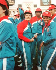 Coach Pat Summitt with her USA Basketball Women's Basketball team at the 1984 Summer Olympics Opening Ceremony in Los Angeles, California