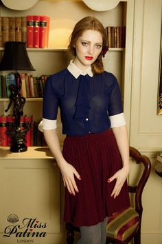 Champagne Ruffles Blouse in navy - Miss Patina