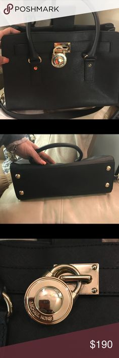 Michael Kors Black Hamilton Satchel in Saffiano Hamilton Medium size Black Saffiano Leather Double Handle With Crossbody/ shoulder signature strap New Condition - Might as well kept tags on  With Dust Bag MICHAEL Michael Kors Bags Satchels