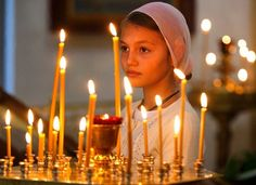 Russia - A girl attends an Orthodox service at St. Catherine in remembrance of the victims of the Sept. Candles Online, Russian Icons, Candle In The Wind, Spiritus, Orthodox Christianity, Irish Wedding, Precious Children, Catholic, Faith