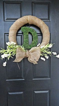 Spring and Summer Wildflower, Burlap, Moss Monogram Front Door Wreath or Wedding Decoration Wreath