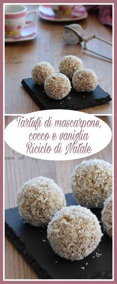 Tartufi di mascarpone, cocco e vaniglia