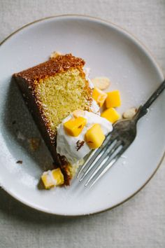 Almond Spelt Cake with Mascarpone Cream and Mango