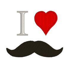 """Embroidery Design Pattern Mustache great for Tote Bag, Pillow  """"I Love Mustache """" by TheHenZEmbroidery on Etsy"""