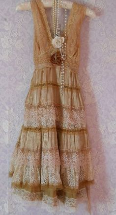 Tea stained lace cotton  tiered slip dress  dolly wedding rose  medium  by vintage opulence on Etsy. $120.00, via Etsy.