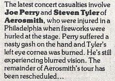Aerosmith / Latest Concert Casualties | Magazine Article (1978)