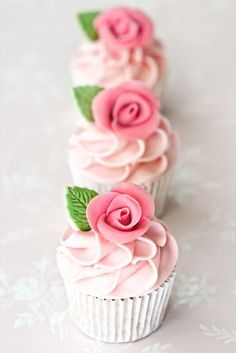 Almond Rose Water Cupcakes Recipe on Cake Central. I'm not one for cupcakes. So I'll make a layer cake instead! Fondant Cupcakes, Cupcakes Rosa, Cookies Cupcake, Pretty Cupcakes, Beautiful Cupcakes, Pink Cupcakes, Wedding Cupcakes, Birthday Cupcakes, Valentine Cupcakes
