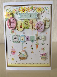 Evelyn Michie. Easter card made from an old Hunkydory kit