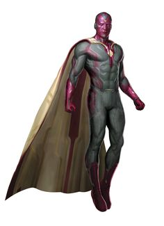 The Vision is an android created by Ultron as part of his original plan to create a more powerful version of himself. He is a character that appears in the Avengers sequel, the Avengers: Age of Ultron. He was voiced by Paul Bettany, the same actor who voiced J.A.R.V.I.S. in the Iron Man film franchise. Vision's primary colors are purple, dark green and gold. He has a red surface plating with gold outlines across his body, and shades of dark green in various areas. Vision also has a golden...