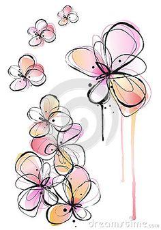 Abstract watercolor flowers, vector by Beata Kraus, via Dreamstime