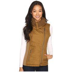 Prana Diva Chevron Quilt Vest (Tortoise) Women's Vest ($129) ❤ liked on Polyvore featuring outerwear, vests, brown waistcoat, faux fur lined vest, vest waistcoat, prana and pattern vest