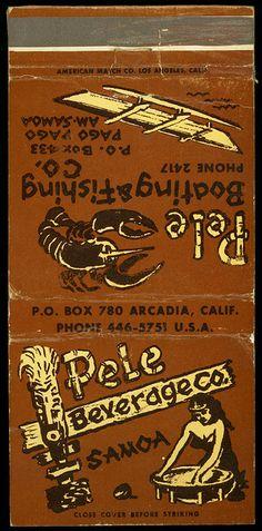 Vintage Tiki Matchbook, Pele Beverages Co. Samoa, Vintage Tiki, Tiki Bar, Tiki Mug, Tike Decor, Rare Tiki!
