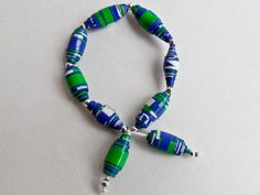 Blue - Green Paper Beads Bracelet Beaded Necklace, Beaded Bracelets, Green Paper, Paper Beads, Turquoise Bracelet, Blue Green, Jewelry, Beaded Collar, Jewlery