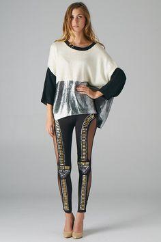Colorblock Foiled Sweater