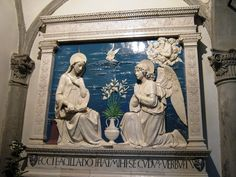 The famous Annunciation by Andrea della Robbia in the Main Church of La Verna Sanctuary - a masterpiece in glased terracotta