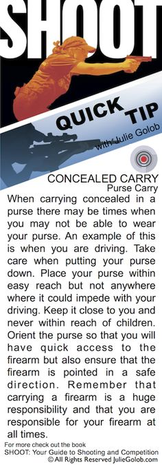 SHOOTing Tip – Concealed Carry in a Purse and Driving from JulieGolob.com