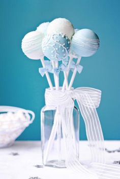 Wedding cake pops by RuthBlack. Wedding cake pops decorated in blue and white