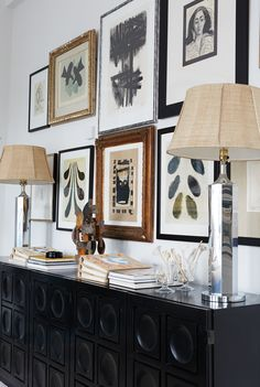 mid-century lamps with woven shades, art and modern vigenette | house tour on coco kelley
