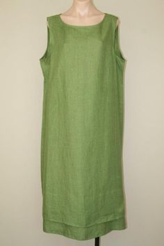 New Eileen Fisher Green Irish Linen Layered Hem Sleeveless Tank Maxi Dress sz 1X #EileenFisher #Shift