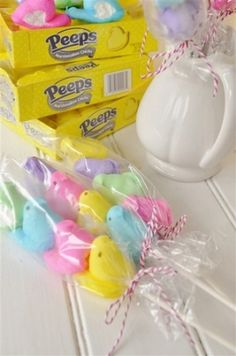 EASTER - peeps on a stick. Great idea! Now they don't have to eat the whole box at once!