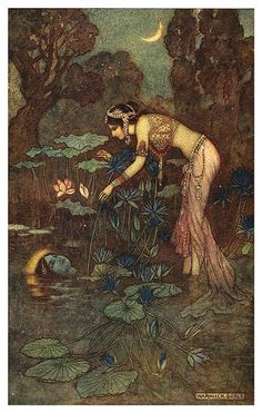 001-Sita se encuentra con rama entre las flores de loto-Indian myth and legend 1913-Warwick Goble | Flickr - Photo Sharing!