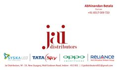 """""""Jai Distributors"""" -  Red = Trust 4 circles at different places but same size - symbolising well distributions all over with trust.  'Startup' for an amazing freind"""