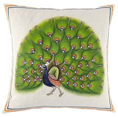 """20"""" x 20"""" (Pillow insert sold separately) Painted by hand. Hidden zipper closure."""